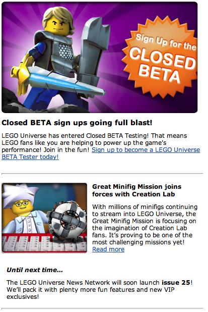 LEGO Universe Newsletter   LEGO Universe News!