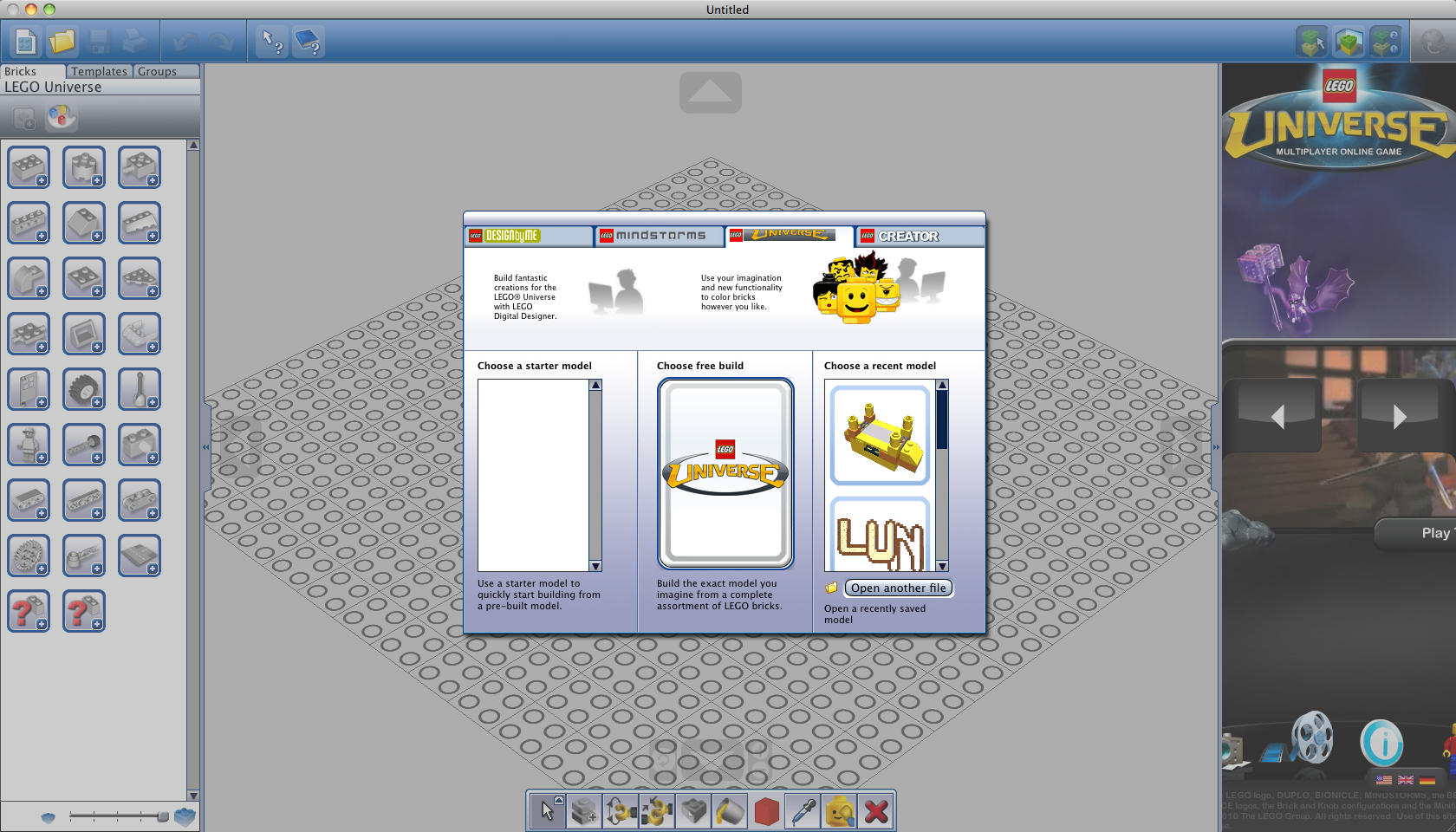 Lego universe hidden mode found in ldd lego universe news for Lego digital designer templates